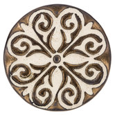 Brown & Cream Flower Scroll Knob